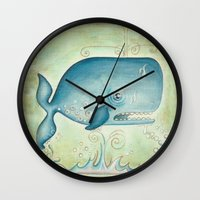the whale Wall Clocks featuring WHALE by Patrizia Ambrosini