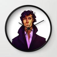 sherlock Wall Clocks featuring Sherlock by Nautilus Gifticus