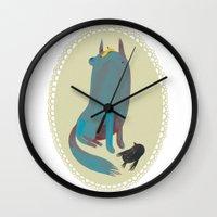 dog Wall Clocks featuring dog by yohan sacre