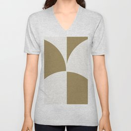 Diamond Series Round Checkers White on Gold Unisex V-Neck