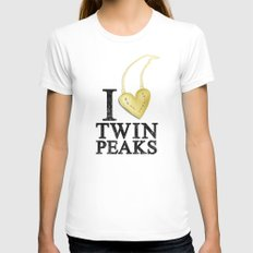 I Love Twin Peaks (Gold Heart Necklace) MEDIUM White Womens Fitted Tee