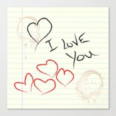 I love you doodle Canvas Print