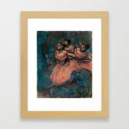 "Edgar Degas ""Three dancers in red costume"" Framed Art Print"