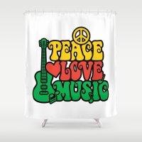 reggae Shower Curtains featuring Reggae Peace Love and Music by Lisann