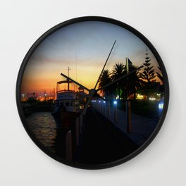Night falls at Lakes Entrance Wall Clock