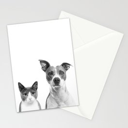 Cute Kitty Cat And Puppy Portrait Art Print, Cat And Dog Animal Nursery, Baby Animals Wall Art Decor Stationery Cards