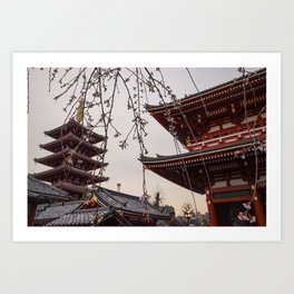 Blossoms and Pagodas Art Print