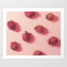 01_#Rambutan#tropical#fruits#in pink Art Print