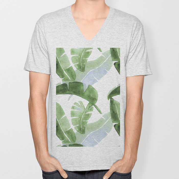 Tropical Leaves Green And Blue Unisex V-Neck