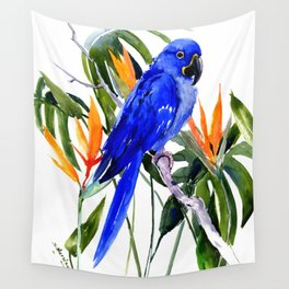 Hyacinth Macaw, Tropical colors foliage, jungle paradise flowers blue orange jungle colors Wall Tapestry