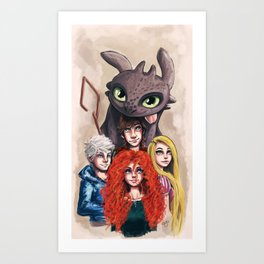 RISE OF THE BRAVE TANGLED DRAGONS Art Print