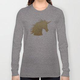 Gold Glitter Unicorn Long Sleeve T-shirt