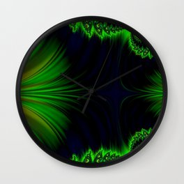 Neon Wind in Green Wall Clock