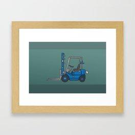 Blue fork-lift truck Framed Art Print