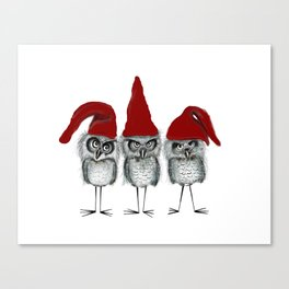 Christmas owls Canvas Print