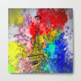 Eiffel Tower at Paris hotel and casino, Las Vegas, USA,with red blue yellow painting abstract backgr Metal Print