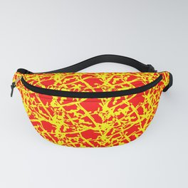 Royal pattern of yellow squiggles and red ropes on a monochrome background. Fanny Pack