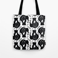 elephants Tote Bags featuring Elephants by beach please