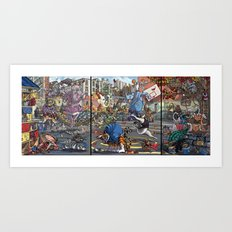 Teenage Animal Play Scene Art Print