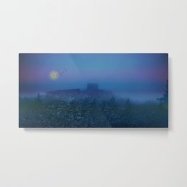 Castle ruin in a winter night Metal Print