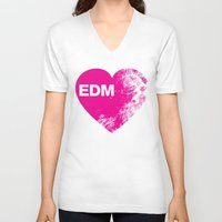 edm V-neck T-shirts featuring EDM Heart by DropBass