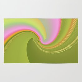 Pink and Green Curves Fractal Abstract Art Rug