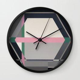 Green line -hexagon graphic Wall Clock