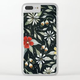 Southwest Style Oval Floral Gouache Painting Clear iPhone Case