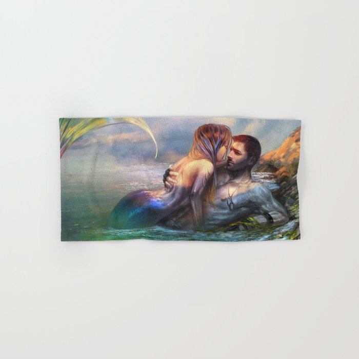 Take my breath away - Mermaid in love with soldier on the beach Hand & Bath Towel