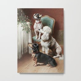 Christmas Dogs Metal Print