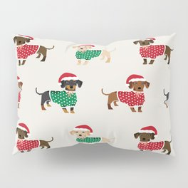 Dachshund christmas sweater holiday santa hat doxie dachsie lovers Pillow Sham