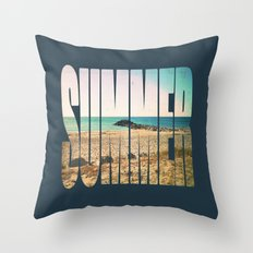 Summer - Frontignan beach in southern france - seascape Throw Pillow