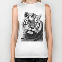 Black and white fractal tiger Biker Tank