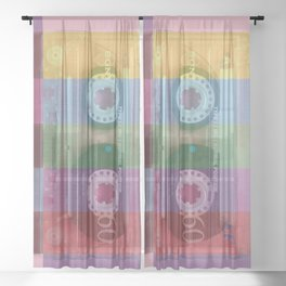 Cassette#tvcolor#VHS Sheer Curtain