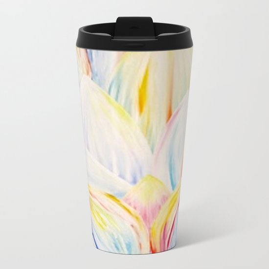 Rainbow Lotus Metal Travel Mug