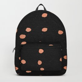 Rose Gold Dots on Black Pattern Backpack