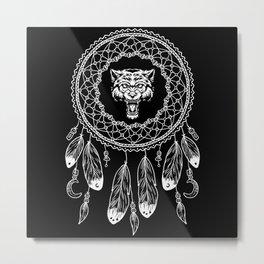 Zodiac Sign Native American Wolf Metal Print