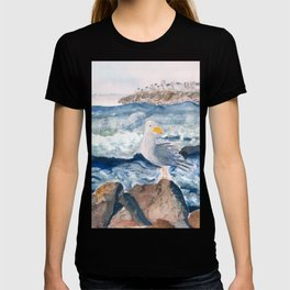 A Watercolor Seagull Named Fred (on Second Cliff in Scituate) T-shirt