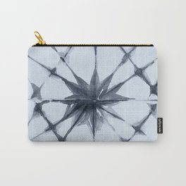 Shibori Starburst Indigo Blue on Sky Blue Carry-All Pouch