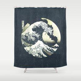 Great Wave Off Kanagawa Mt Fuji Eruption-Dark Blue Shower Curtain