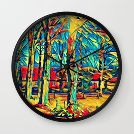Country house in Art Wall Clock