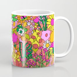 60's Groovy Garden in Neon Peach Coral Coffee Mug
