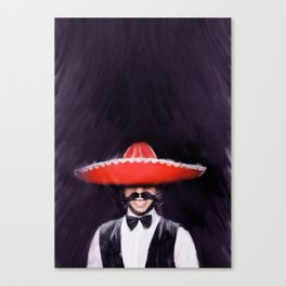 Portrait of a man, Spanish Man, Sombrero, Red and Black, Man Art Canvas Print