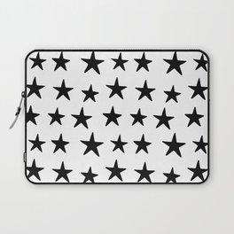 Star Pattern Black On White Laptop Sleeve