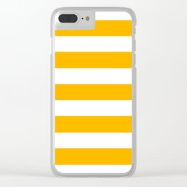 UCLA gold - solid color - white stripes pattern Clear iPhone Case