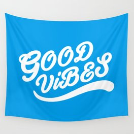 Good Vibes Happy Uplifting Design White And Blue Wall Tapestry