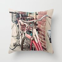 bicycles Throw Pillows featuring Bicycles by Yolanda Méndez