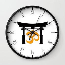 Tori Gate Silhouette and Om Wall Clock