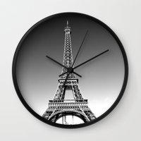 eiffel Wall Clocks featuring eiffel by Michelle Loidl
