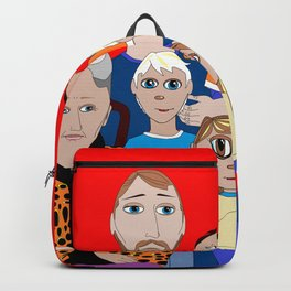 A Family of Boys with Father, Grandpa and Meemaw Backpack